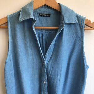 Tops - Sleeveless Blue Blouse